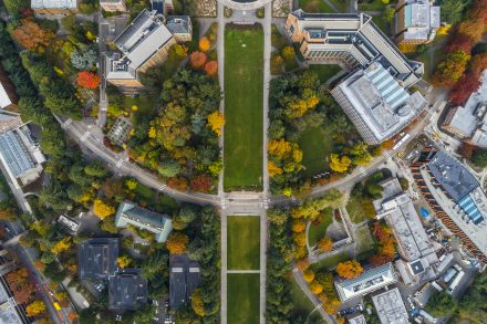 drone image of campus