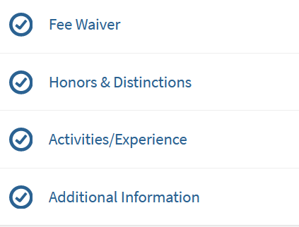 fee waiver, honors & distinctions, activities/experience, additional info
